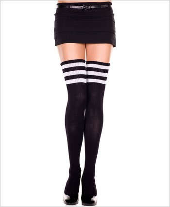 Athletic Thigh Highs ML-4245-Black-White