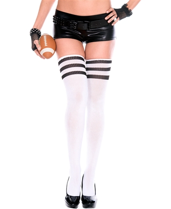 Athletic Thigh Highs ML-4245-White-Black