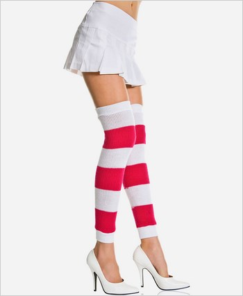 Acrylic Wide Striped Leg Warmers