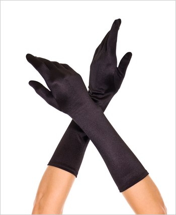 Black Long Satin Gloves ML-426-Black