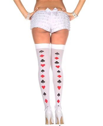 Poker Cards Backseam Pattern Thigh High Stockings ML-4276