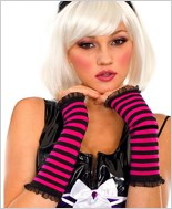 Black Hot Pink Striped Fingerless Gloves ML-431-Black-Hot-Pink