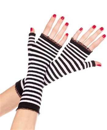 Black White Striped Fingerless Gloves ML-431-Black-White