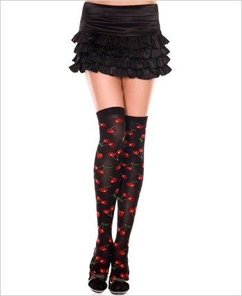 Acrylic Thigh Highs With Cherries Prints