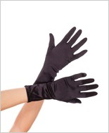 Wrist Length Black Satin Gloves ML-461-Black