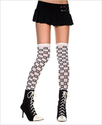 Checker Thigh Highs With Crossbones