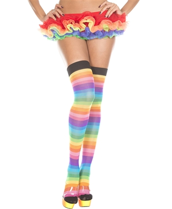 Rainbow Striped Thigh High Stockings ML-4613