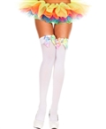Rainbow Satin Bow Opaque Thigh High Stockings ML-4645