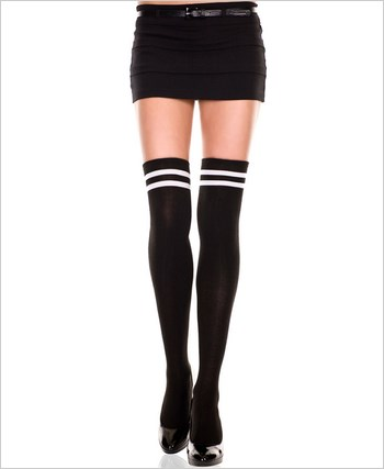 Acrylic Double Striped Thigh Highs