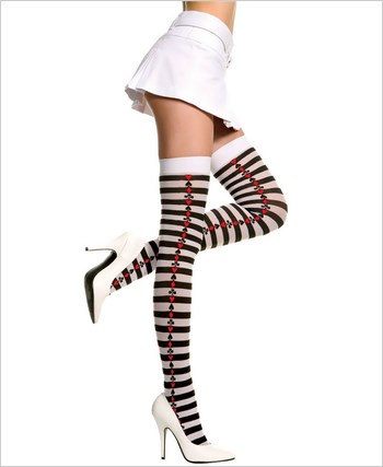 Music Legs® Opaque Stripes Thigh Hi ML-4675