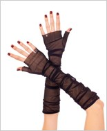 Black Long Fingerless Gloves ML-473-Black