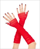 Red Long Fingerless Gloves ML-473-Red