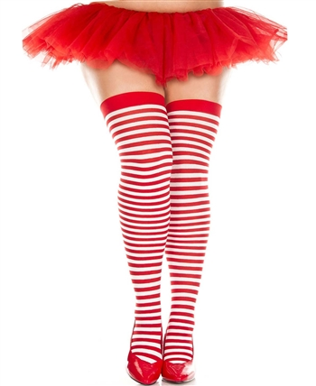 Plus Size Striped Thigh High Stockings ML-4741Q