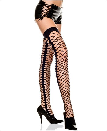 Diamond Net Thigh Highs With Side Seam