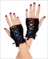 Sequined Fingerless Gloves ML-482