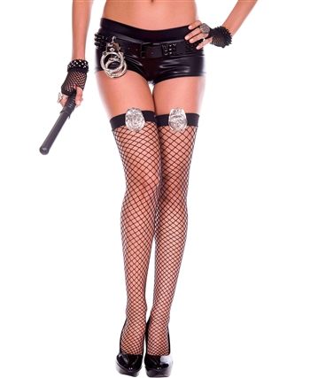 Police Batch Applique Spandex Thigh High Stockings ML-4820