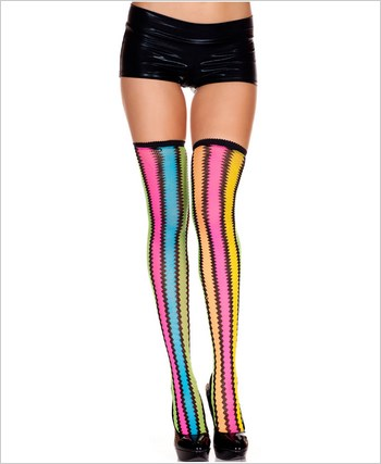 Blue And Yellow Zig Zag Thigh Highs