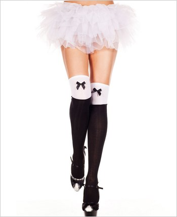 Opaque Two Tone Thigh Highs With Bow