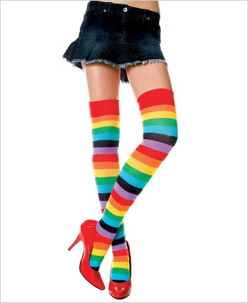 Music Legs® Opaque Multi Color Thigh Hi ML-4874
