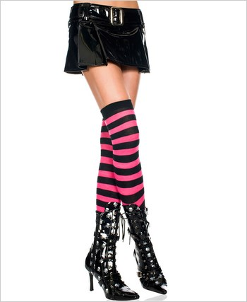 Acrylic Pink And Black Striped Thigh Highs