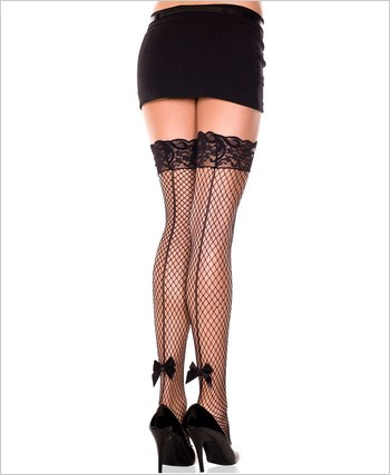 Diamond Net Thigh High With Backseam And Bow