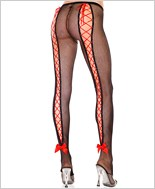 Music Legs® Fishnet Pantyhose With Lace Up Back ML-50012