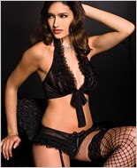 Music Legs® Tie Front Halter Top And Short With Garter Clips ML-52007
