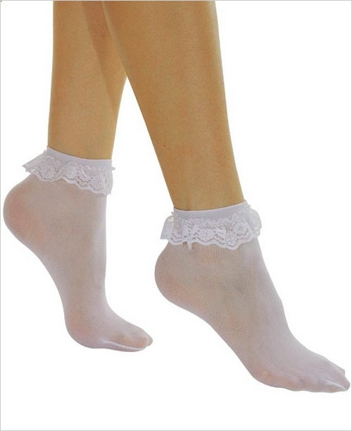 New Music Legs 527 Opaque Ankle High Socks With Ruffled Lace