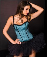 Ruffle Trim Corset And G-String Set ML-52809