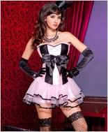 Satin Black Bow Corset Lingerie Set ML-52830