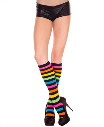 Acrylic Rainbow And Black Stripes Knee Highs
