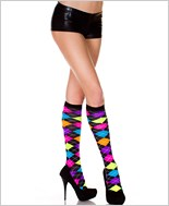 Acrylic Neon Argyle Design Knee Highs
