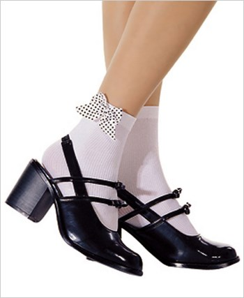 Opaque Ankle High Socks With Bow