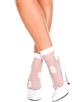 Flower Design Sheer Ankle High Socks ML-544