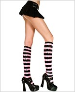 Striped Knee Highs With Crossbones Seam