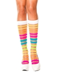 Rainbow Sheer Stripes Knee Highs ML-5526