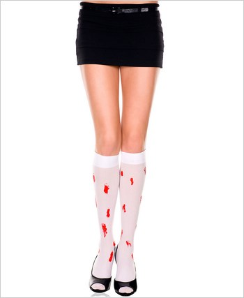 Opaque Knee Highs With Blood Drips