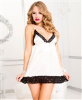 Satin Baby Doll with Contrast Lace Trim ML-56019