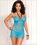 Mesh Polka Dot Babydoll with G-String ML-56023