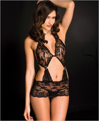 Cut Out Back Lace Chemise And G-String ML-56049
