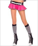 Opaque Checkered Knee Highs