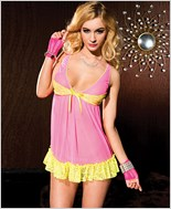 Mesh Chemise with Contrast Lace Trim ML-56071