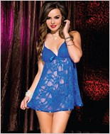 Floral Lace Chemise with Satin Hem and Bow ML-56089