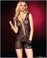 Lace Mini Dress with Shredded Shoulder Strap ML-56112