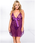 Plus Size Mesh Polka Dot Babydoll with Bow ML-56125Q