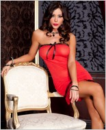 Red Tube Chemise And G-String Set ML-56129-Red-Black