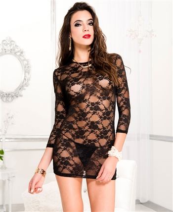 Long Sleeve Lace Dress with G-String ML-56136