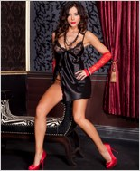 Black Satin Babydoll And G-String Set ML-56150-Black
