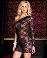 One Shoulder Mini Dress And G-String Set ML-56159