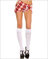 Opaque Knee Highs With Ruffle Lace Trim